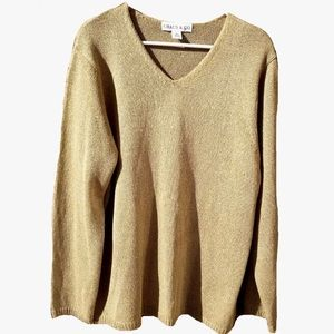 New Vintage 90s Chaus & Co Gold Shimmer Sweater 2X